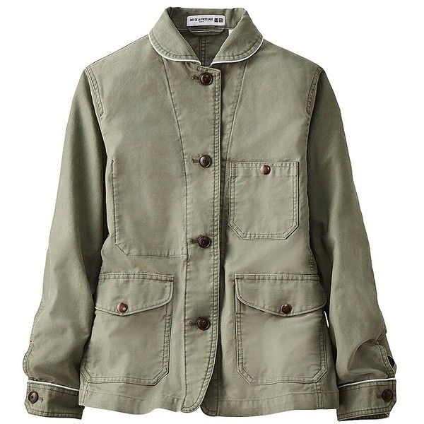 UNIQLO Ines Cotton Coverall Jacket ($31) ❤ liked on Polyvore featuring outerwear, jackets, uniqlo, uniqlo jacket, cotton jacket, collar jacket and green jacket