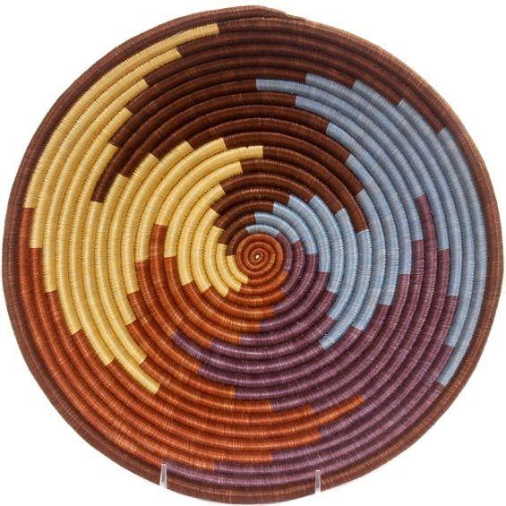 African Basket - Rwanda Sisal Coil Weave Bowl - 12 Inches Across - #33849