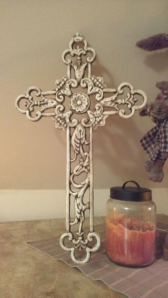 """WaLL CrOss WRougHt IrOn CroSs HoMe DeCor Shabby by villagefrippery, $45.00 Only 18"""" High, probably too small for entry but beautiful."""