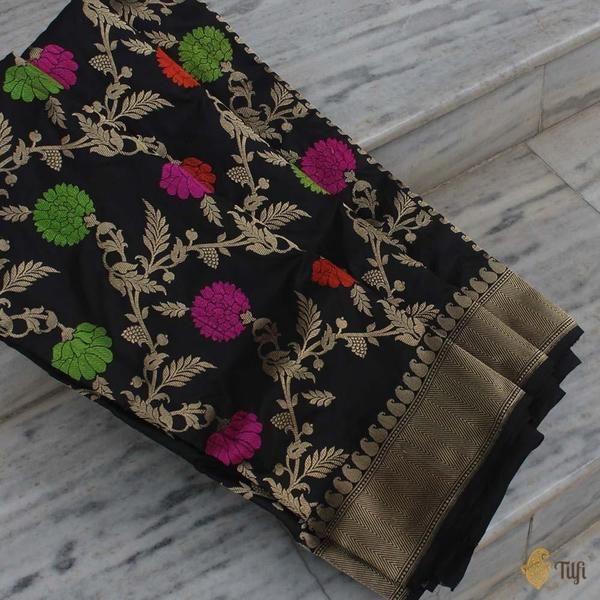 Black Pure Katan Silk Banarasi Handloom Saree