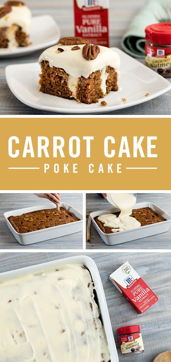 This nostalgic twist on traditional carrot cake is the perfect Easter dessert idea. Smother delicious spiced carrot cake with decadent creamy filling and top with classic sweet cream cheese frosting. Sprinkle with pecans before serving and welcome this poke cake to your dessert table.