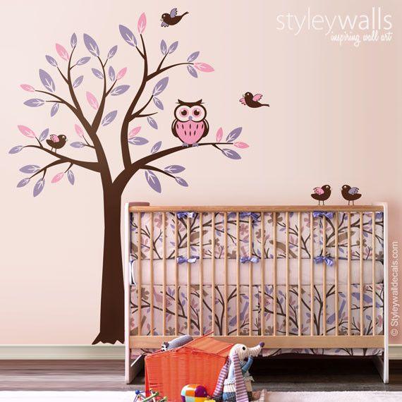 Wandtattoos - Baum mit Eule Vögel Wandtattoo für Kinderzimmer - ein Designerstück von Smileywalls bei DaWanda