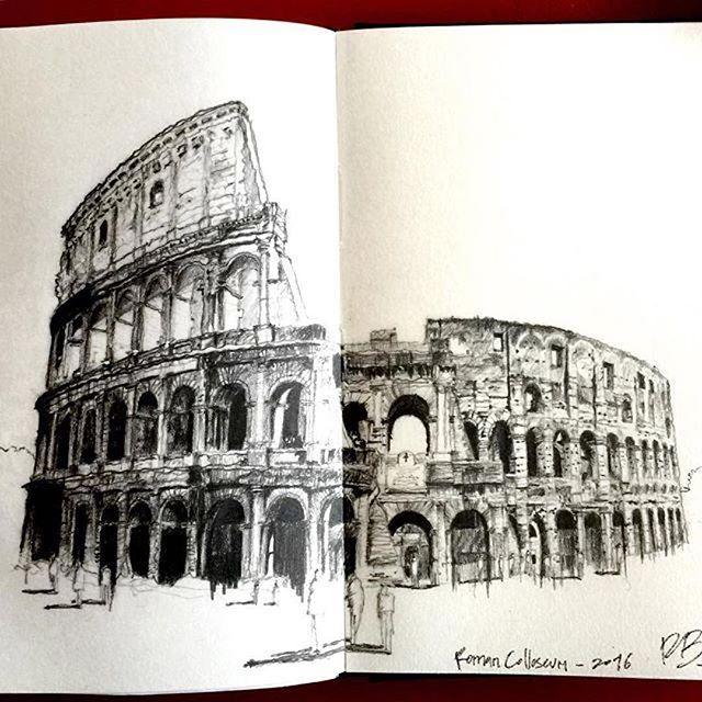 The Colosseum, Rome Regram from @roberto.bernal #sketchwalker
