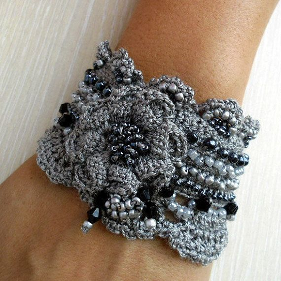 Bracelet Cuff Silver Freeform Crochet With by SvetlanaCrochet