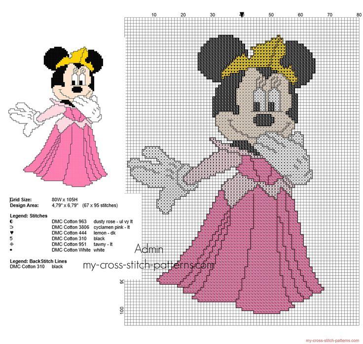 Disney Mimi Minnie Mouse como la Princesa Aurora punto de cruz