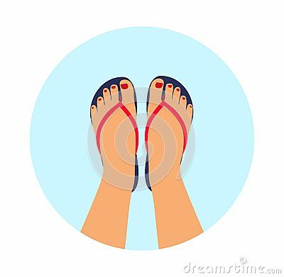 Vector Illustration Female Feet With A Pedicure In The Summer Flip-flops. Summer - Concept Background - Download From Over 55 Million High Quality Stock Photos, Images, Vectors. Sign up for FREE today. Image: 76012423
