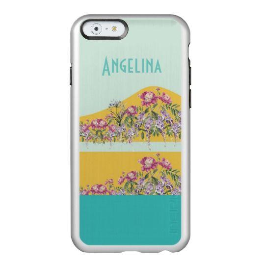 Mettallic Costumized Yellow Aqua Floral Incipio Feather® Shine iPhone 6 Case