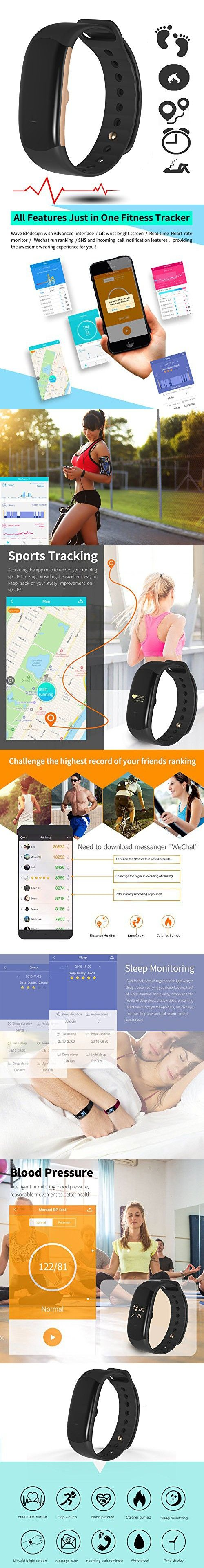 Fitness Activity Tracker 24/7 Heart Rate Monitor with Blood Pressure, Armband Waterproof Pulse Meter, Sport Smart Watch and AutoSleep Recognition Step/Calorie Counter SMS Call Notification n more