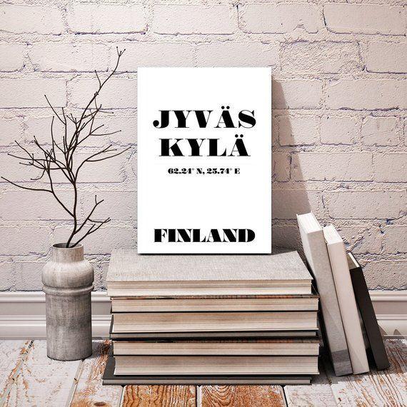 Jyväskylä, Finland Coordinates – Typography City Print 24×36″ + 70×100 cm – Scandinavian Design Minimalist / Modern Black White Art Poster