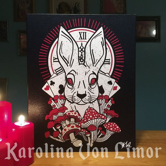 Dark Alice In wonderland illustration on canvas! New brand Karolina Von Limor! Ship worldwide