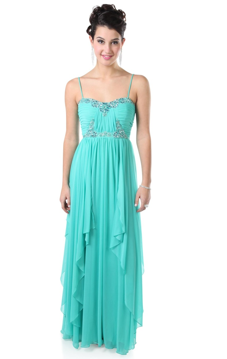 spaghetti strap beaded bust long prom dress with asymmetrical skirt