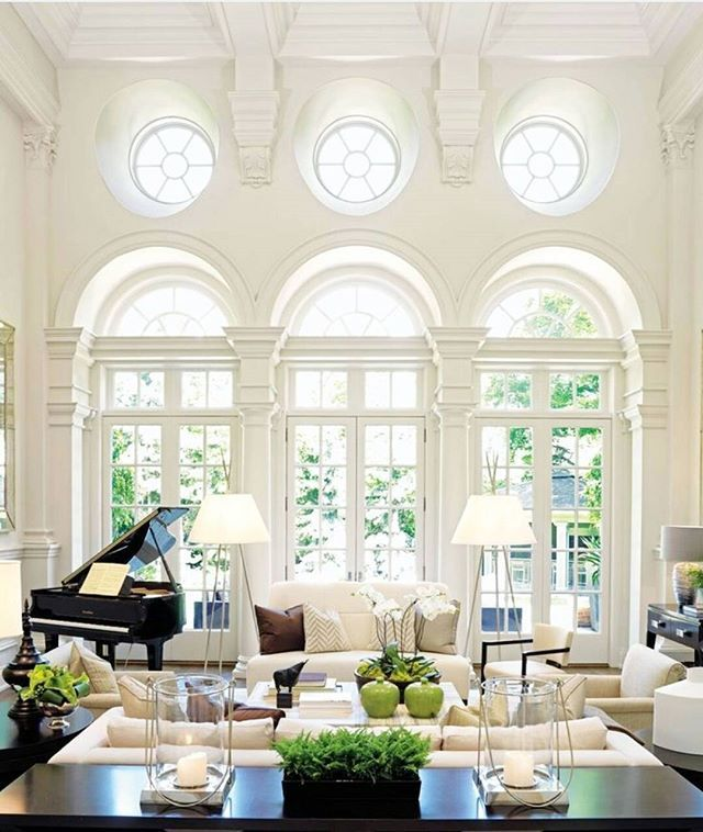 Design Company Powell & Bonnell redesigned this stunning Toronto, Ontario 10,000 square foot Georgian home to breathtaking ends. They coffered the ceiling and painted everything a soft white to avoid overwhelming the already incredibly ornate and detailed architecture. This home was featured in @archdigest February 2010. Photography by Stacey Brandford. #interiordesign #classic #timelessdesign #inspiration #architecture #windows #millwork #itsallinthedetails #architecturaldigest…