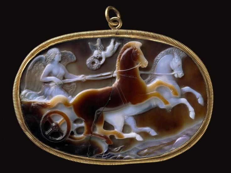 Sardonyx cameo with Victory driving a chariot. Roman. Imperial Period. Late 1st century B.C.–early 1st century A.D. | Museum of Fine Arts, Boston