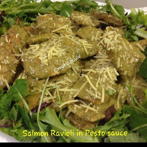 Salmon Ravioli in Pesto Sauce