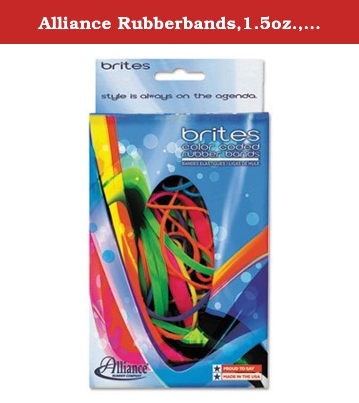 "Alliance Rubberbands,1.5oz.,Ast 07706 - 1 Each. Just because you are grown up doesn't mean you can't play. Add some fun to your day with our Pic-Pac bands. They are color coded by size in a 1.5 oz. dispenser box and fit well in a desk tray. Mix of most popular sizes 16, 18, 19, 32, 33 and 64. Approximate Count: Varies; Size: Assorted; Length: 2 1/2""; 3""; 3 1/2""; Gauge: 0.04."