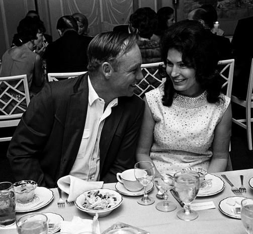 Loretta Lynn and her husband, Mooney, enjoys themselves during the BMI awards banquet at the Belle Meade Country Club, 1966. (Courtesy of Joe Rudis)