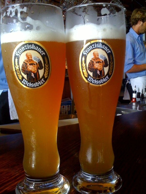 """Say """"Yes"""" to REAL beer- Franziskaner Weiss Beer or a good Dunkel...YUM!"""