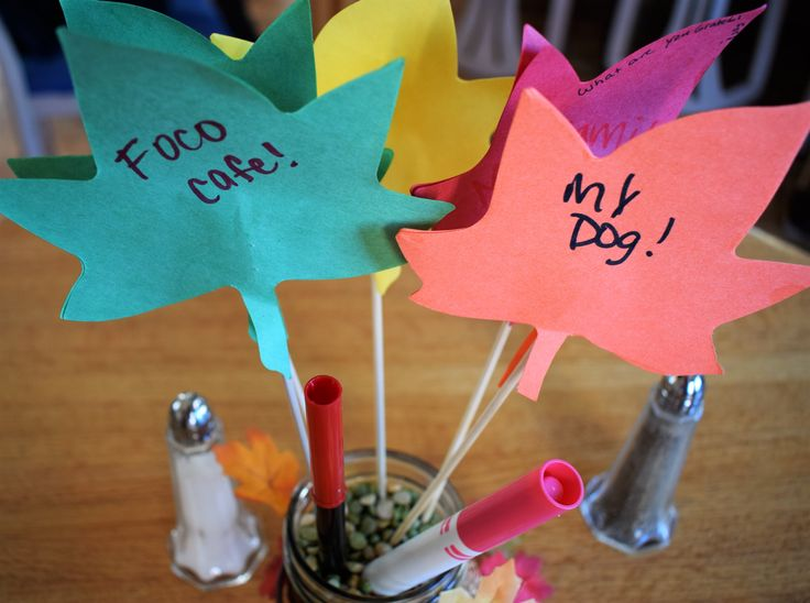 Thanksgiving interactive centerpieces - our guests tell us what they are thankful for.