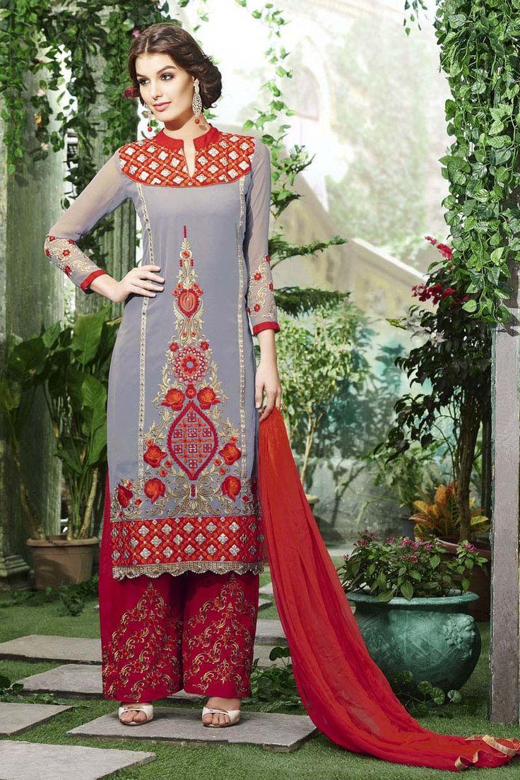 Grey Georgette Semi Stitched Salwar Kameez