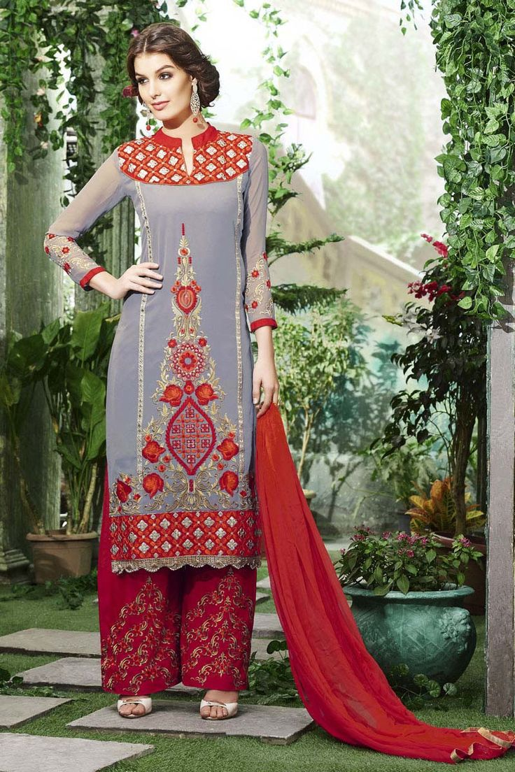 Grey Georgette Semi Stitched Salwar Kameez