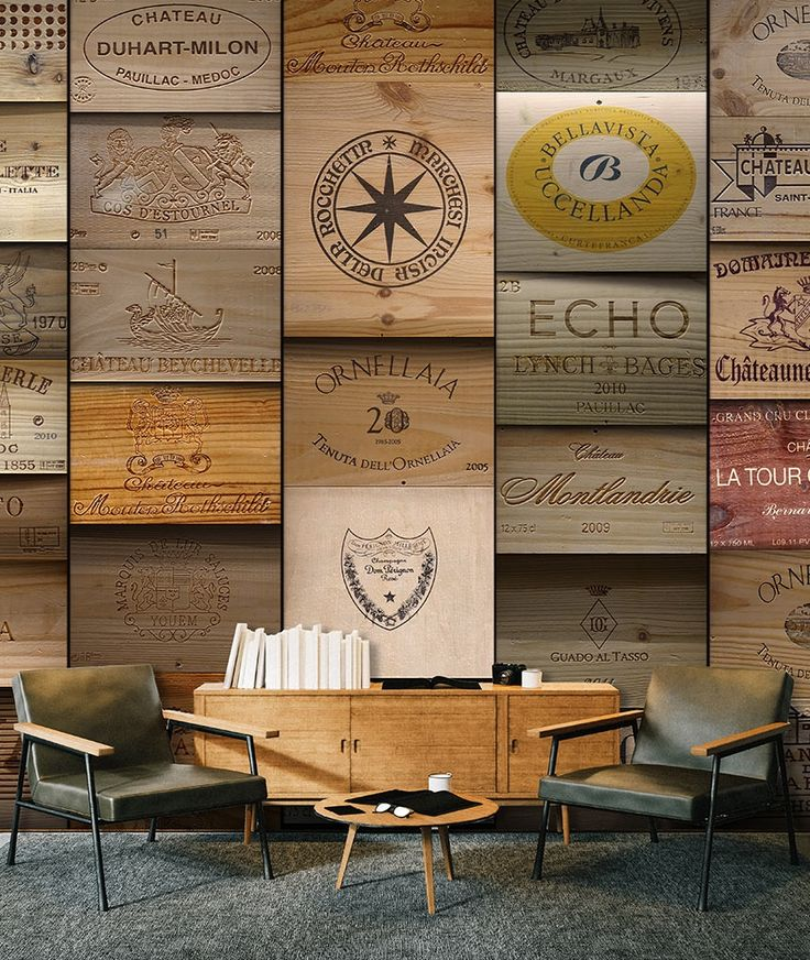 """Papel pintado """"Old Vineyard"""" marcas de vino impresas a todo color y en alta resolución y con toque vintage. Un foto mural especial, ideal para bares de vinos, bodegones y tu comedor!!"""