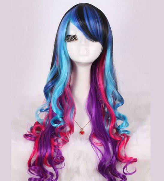 Buy Long curly wig . synthetic multi-color wig -high quality wig,  lolita hair by wigglywigs. Explore more products on http://wigglywigs.etsy.com