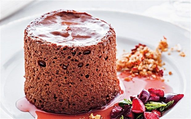 Olive oil chocolate mousse, salt and chilli sesame praline and cherry salsa