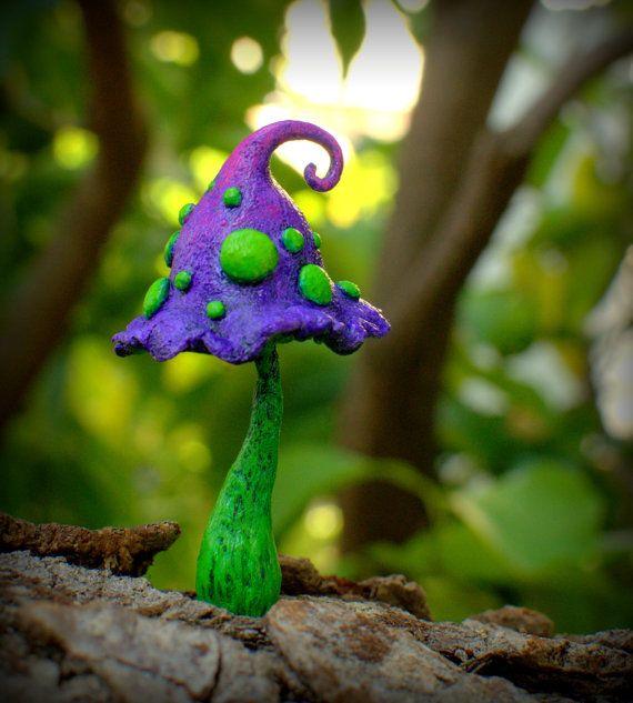 Purple green fairy garden fantasy mushroom  polymer by Petradi