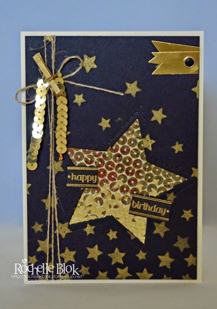 The Stamping Blok: features Stampin Up's Stars Decorative Mask and gold sequins. By Rochelle Blok