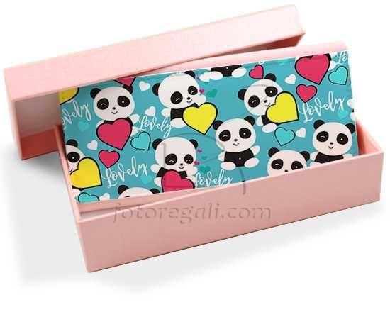 Portafoglio donna in pelle colorato Lovely panda