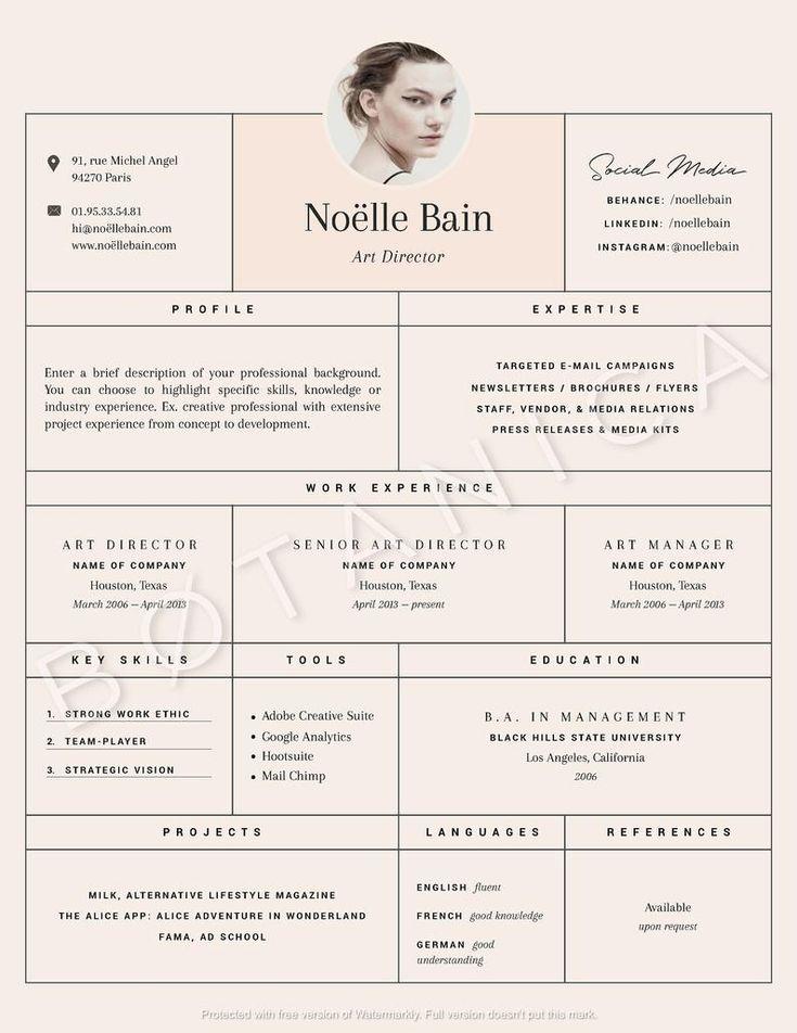 Fashion cv template feminine resume template cover