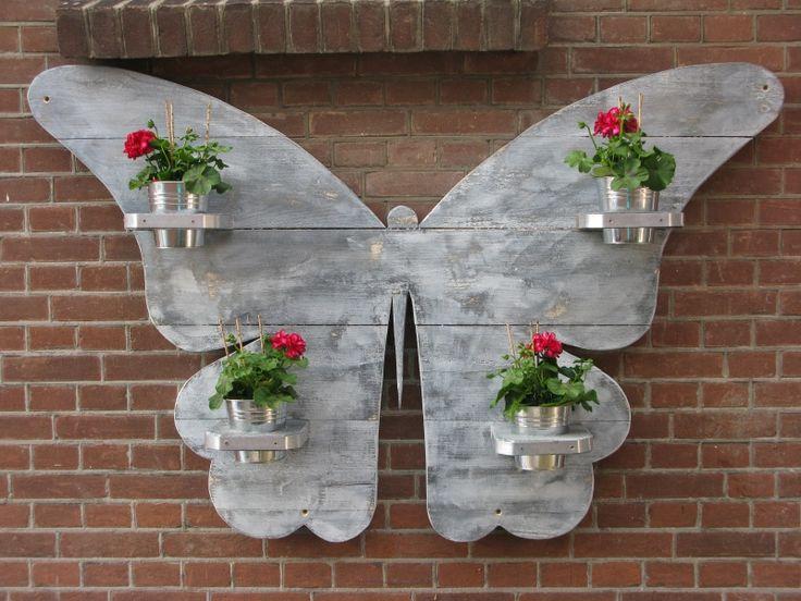 Vlinder van steigerhout voor de tuin figuurzaag patronen for Decoratie vlinders voor in de tuin