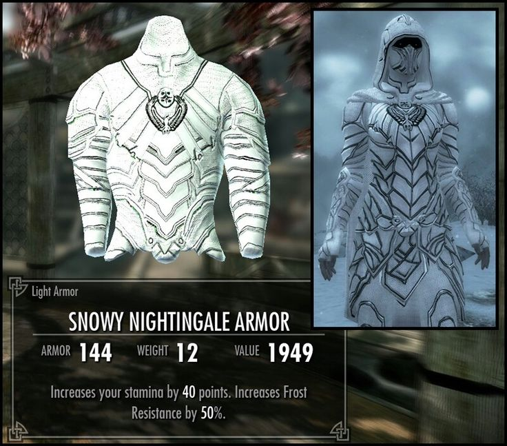 Snowy Nightingale armor #skyrim ..... Is this real or a mod?! I love my Nightingale armor and this one is WHITE and .... And ... SNOWY O.o I waaant it!