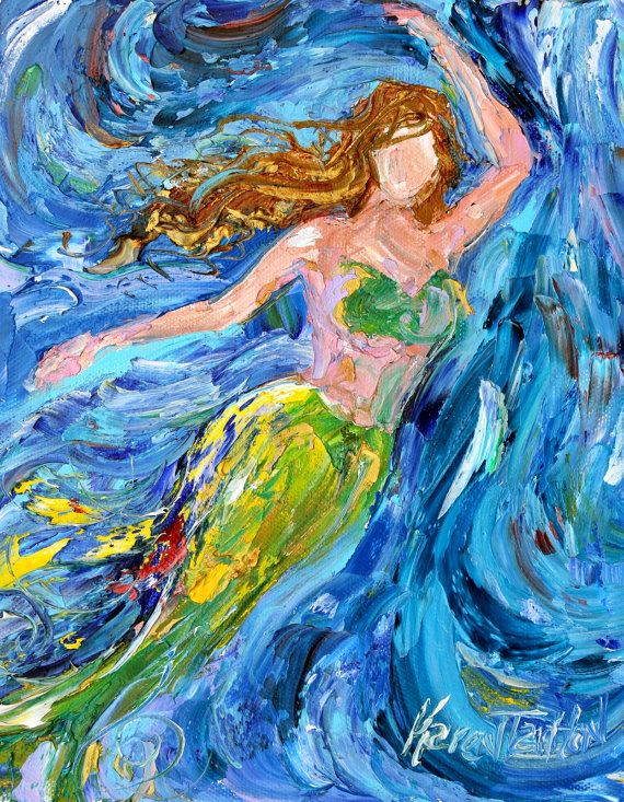 Original oil painting Mermaid Dance abstract impressionism ...