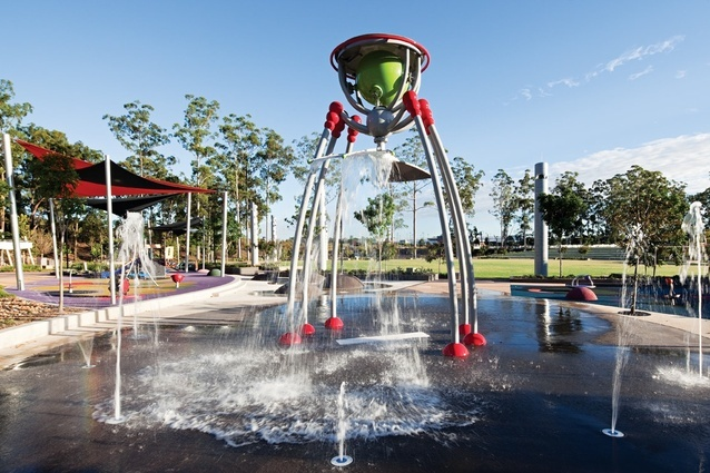 Vee Design's twenty-hectare parkland in Springfield, Queensland acts as both a community hub and a child-friendly playground.