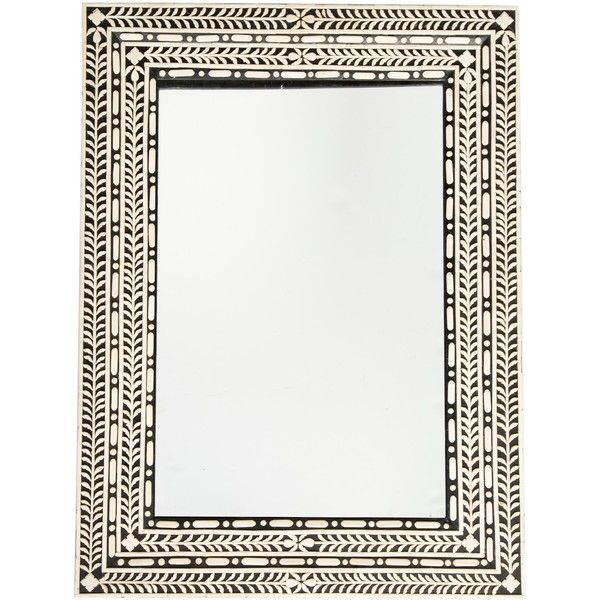 Pre-owned Bone-Accented Wall Mirror ($345) ❤ liked on Polyvore featuring home, home decor, mirrors, black, wooden wall mirrors, antique white wall mirror, black home decor, cream mirror and wooden mirror