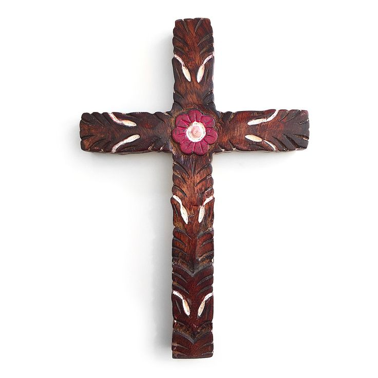 Boho cross. Hand crafted old style looking cross with purple flower in the middle. Wall hanging. Christianity. Religion. Gift. Wood carving.