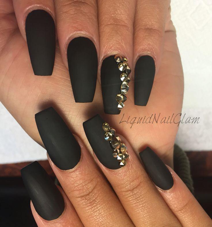 Black Matte Coffin Shaped Nails #liquidnailglam