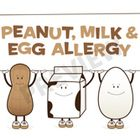 This file contains 7 pages of allergy signs - milk, egg, and peanut which are listed separately. Also included are combinations such as milk/egg al...