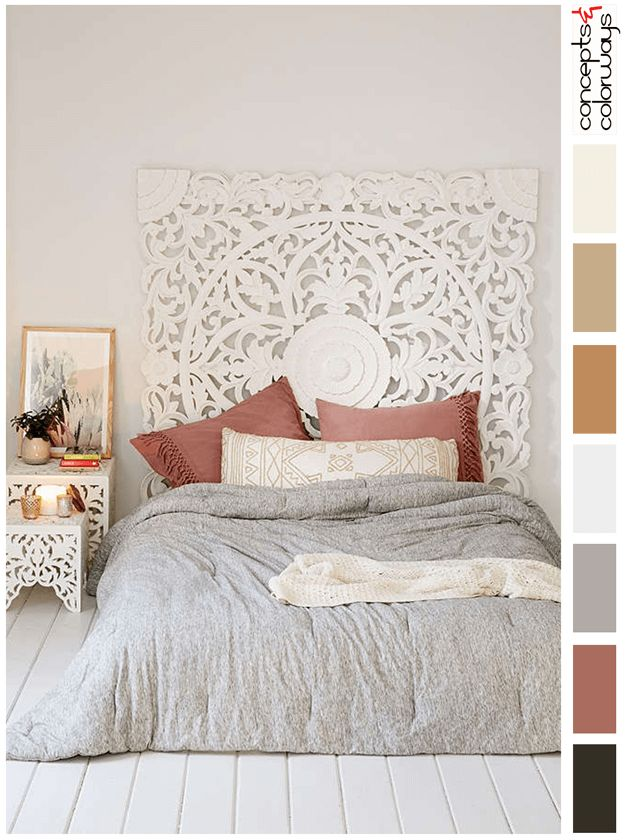 Bedroom Interior Color Palette With Faded Red Accent, Color Palettes, Color  Combinations, Color