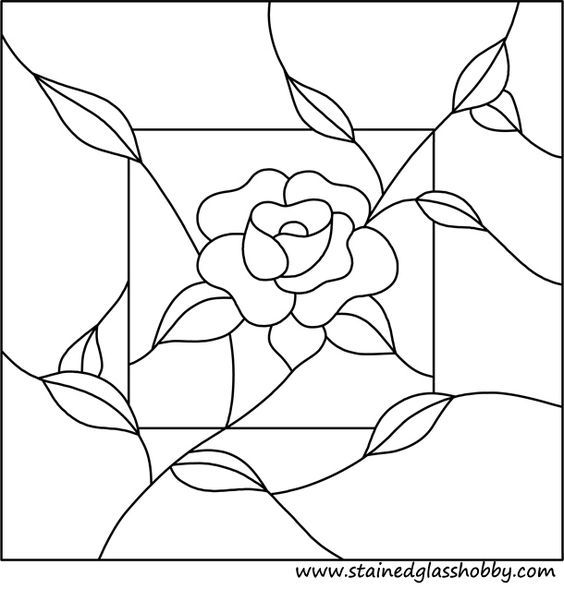 Flower panel stained glass pattern Rose: