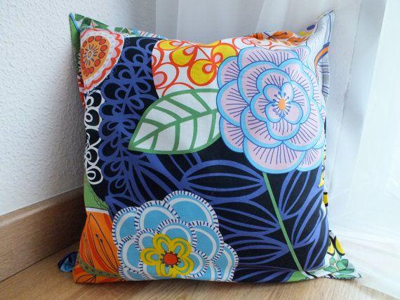 Mediterranean Decorative Pillow Cover 16x16 - Modern floral print - Blue / Orange / White