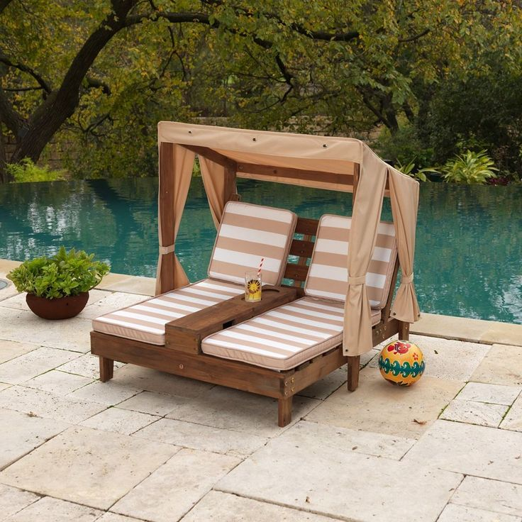 Kids Double Chaise Lounge Outdoor Patio Furniture Canopy Pool Chair Lounger  New #KidKraft