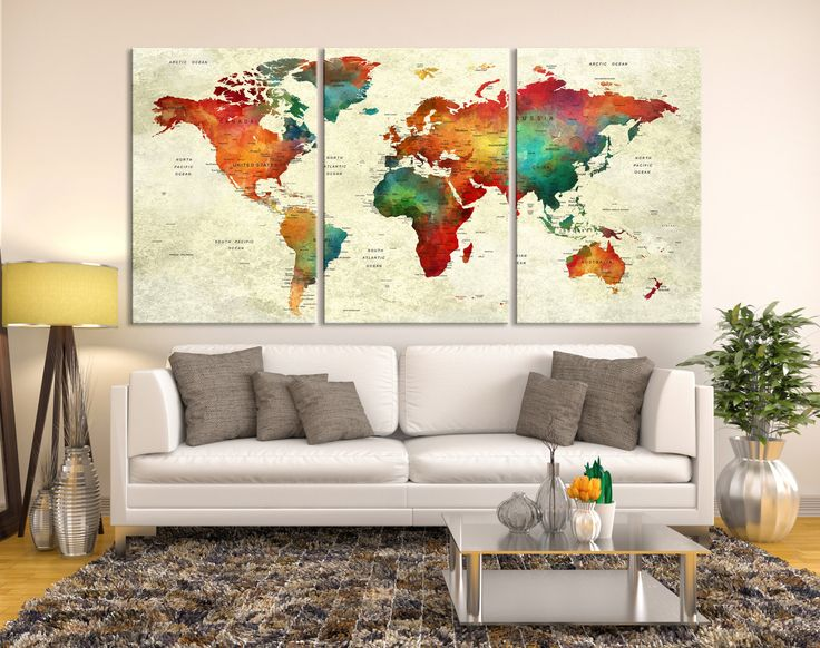 25 best push pin world map canvas images on pinterest world map push pin world map canvas print triptych wall art watercolor world map canvas print gumiabroncs Images