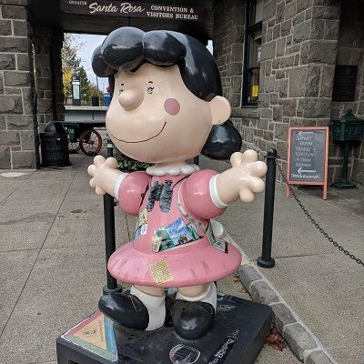 Santa Rosa, Ca, Charles Schulz's town with his studio and museum.   His famous characters are around town. You just have to look!