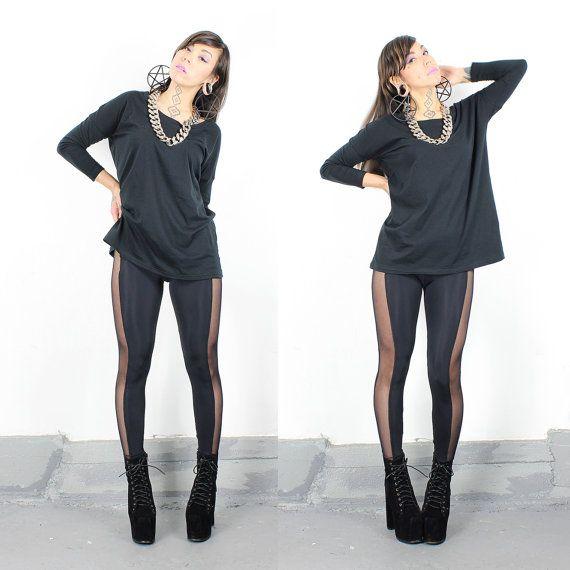 LAST ONES!! Black Sheer Side Mesh Panel Leggings - xs/s Only Left ...