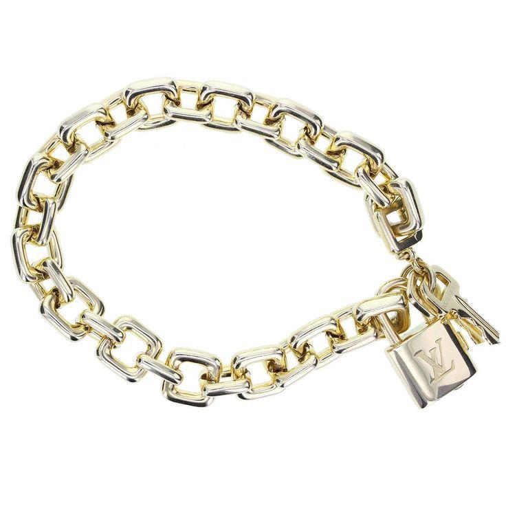 Louis Vuitton Paris Heavy Gold Padlock and Key Bracelet at 1stdibs