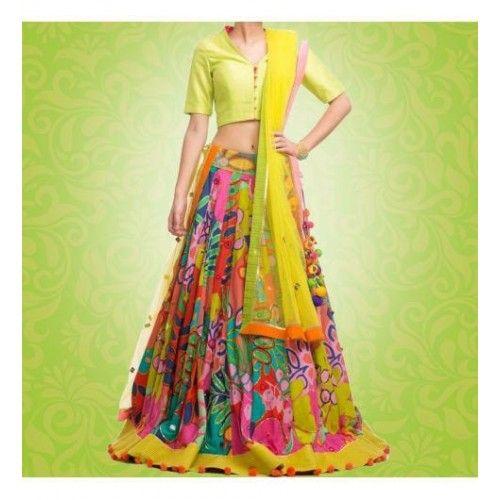 Fabdiwa Fashion designer Multi and Yellow lehenga