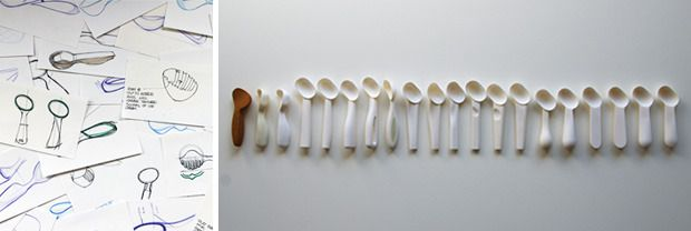 L: Design team's initial sketches. R: Prototypes showing evolution of Belle-V ice cream scoop.
