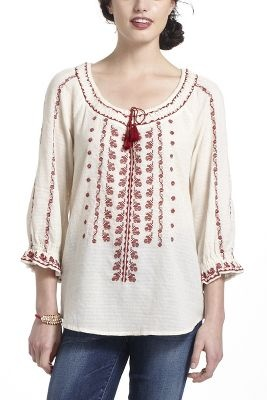 Romanian Embroidered Peasant Blouse